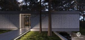 Minimalistyczny i surowy dom pośród dzikiej przyrody