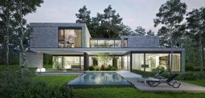 Nawiązujący do leśnego otoczenia nowoczesny dom z zielonymi patiami