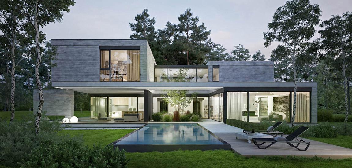 Nawiązujący do leśnego otoczenia nowoczesny dom z zielonymi patiami. Projekt: STOPROCENT Architekci