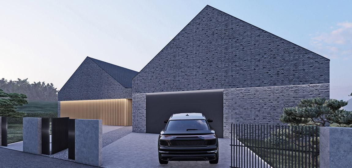 """Dom """"Twin Barn"""". Projekt:_slab_ Studio architektoniczne"""