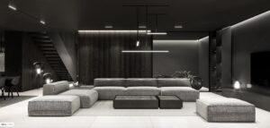 Atmosfera tajemniczości w ciemnych wnętrzach domu projektu MOKAA Architekci
